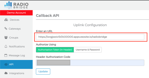Exosense and Radio Bridge URL Example